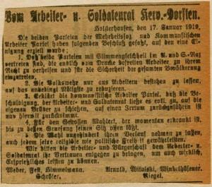"""Verlautbarung in der """"Dorstener Volkszeitung"""" vom 17. Jan. 1919"""