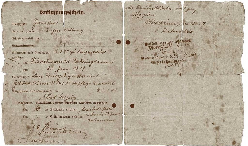 Entlassungschein nach Holsterhausen 1919