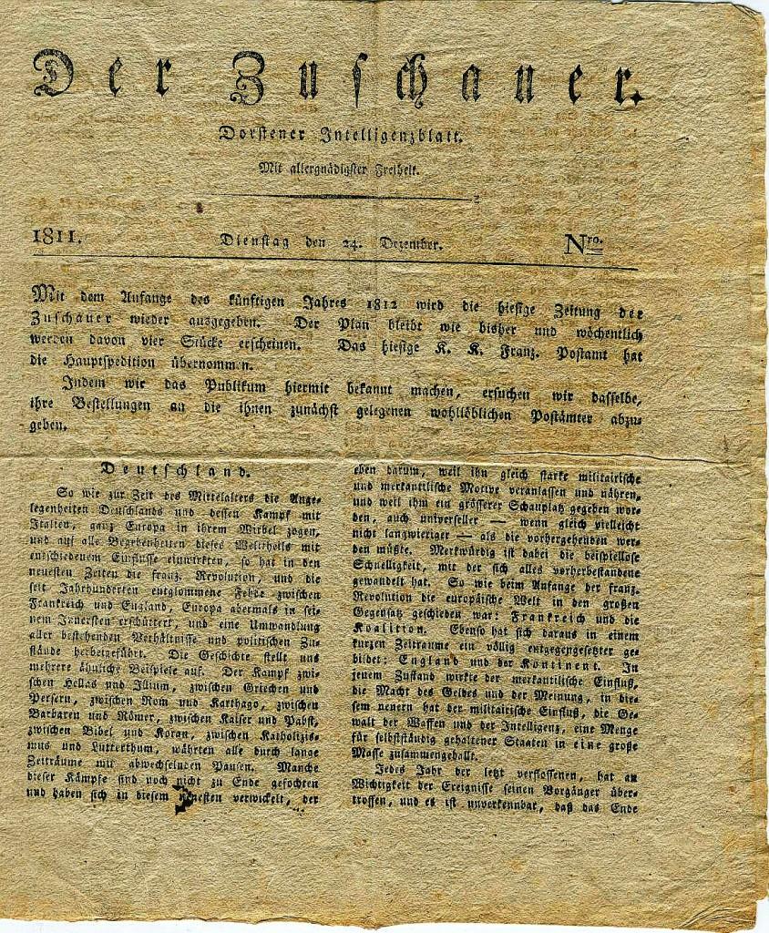 """""""Der Zuschauer"""", 1811"""