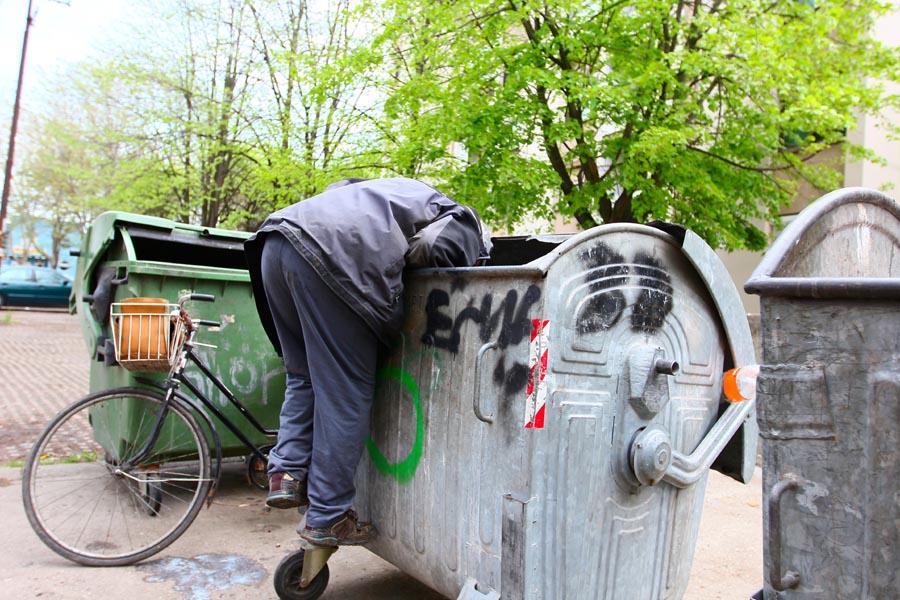 Suche im Müllcontainer