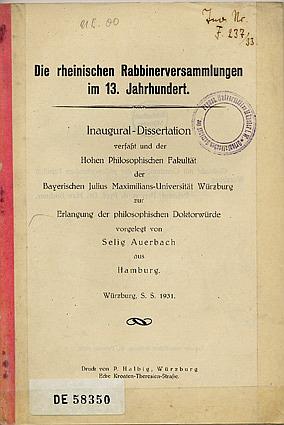 Dissertation von Selig Auerbach