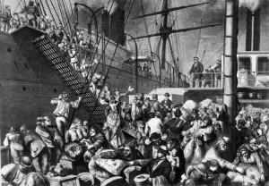 Auswandererschiff in Hamburg