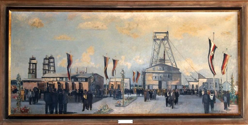 Schachtanlage Wulfen 1958, Bild von R. Gessner: Feier des ersten Kübelzugs