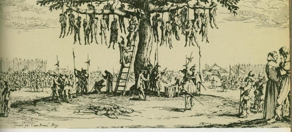 Der Baum als Hinrichtungsstätte (Dereißgjähriger Krieg), Kupüferstich von Jaques Gallot