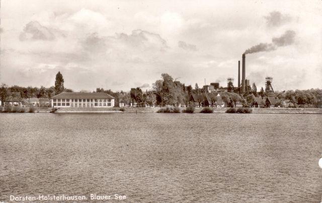 Der Blaue See um 1950 mit Blick zur Zeche in Hervest
