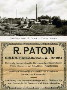 Oben Bleicherei mit Gleisanschluss, unten Inserat um 1925