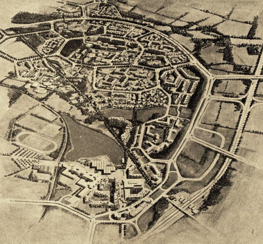 Plan der Neuen Stadt Wulfen aus den 1960er-Jahren, wie sie einmal aussehen sollte; Bild: Wulfen-Wiki