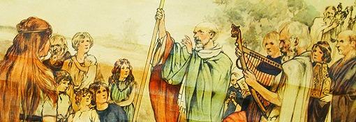 Hl. Liudger predigt zu den Heiden, eine romantisierte Darstellung