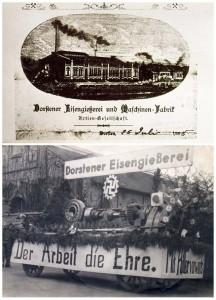 Oben: Eisengießereo um 1880; unten: Umzug in der NS-Zeit