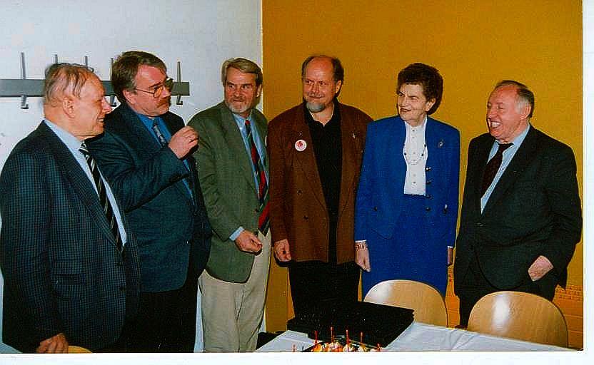 Organisatoren und Referenten Dr. Kartal, Wolf Stegemann, Gerd Ruge, Prof. Springer, LIselotte Funke, Ignaz Bubis (v.l.)
