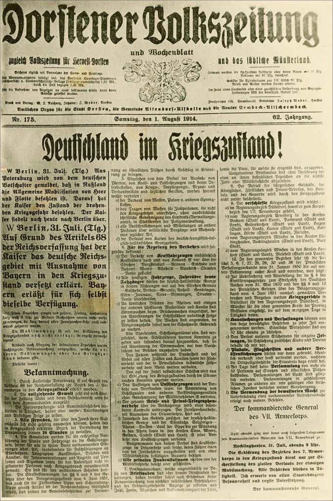 Dorstener Volkszeitung vom 1. August 1914