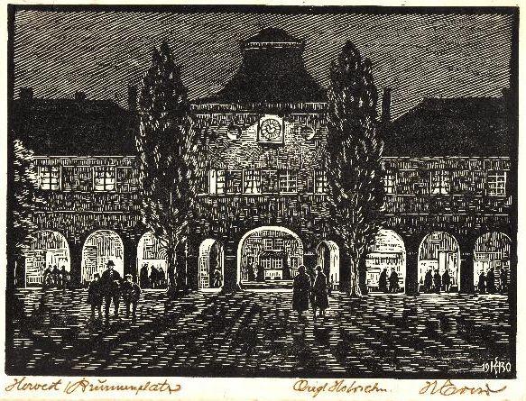 Holzschnitt Brunnenplatz