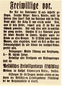 Werbe-Anzeige des Freikorps