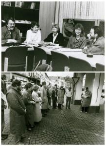 Forschungsgruppe, oben: Wolf Stegemann, Christel Winkel, Sr. Johanna Eichmann, Elisaberth Cosanne-Schulte Huxel, Holger Steffe (v. l.); unten: Gedenkveranstaltung an der Mahntafel (Ermordnung der Juden ) am Alten Rathaus (heute dort entfernt)