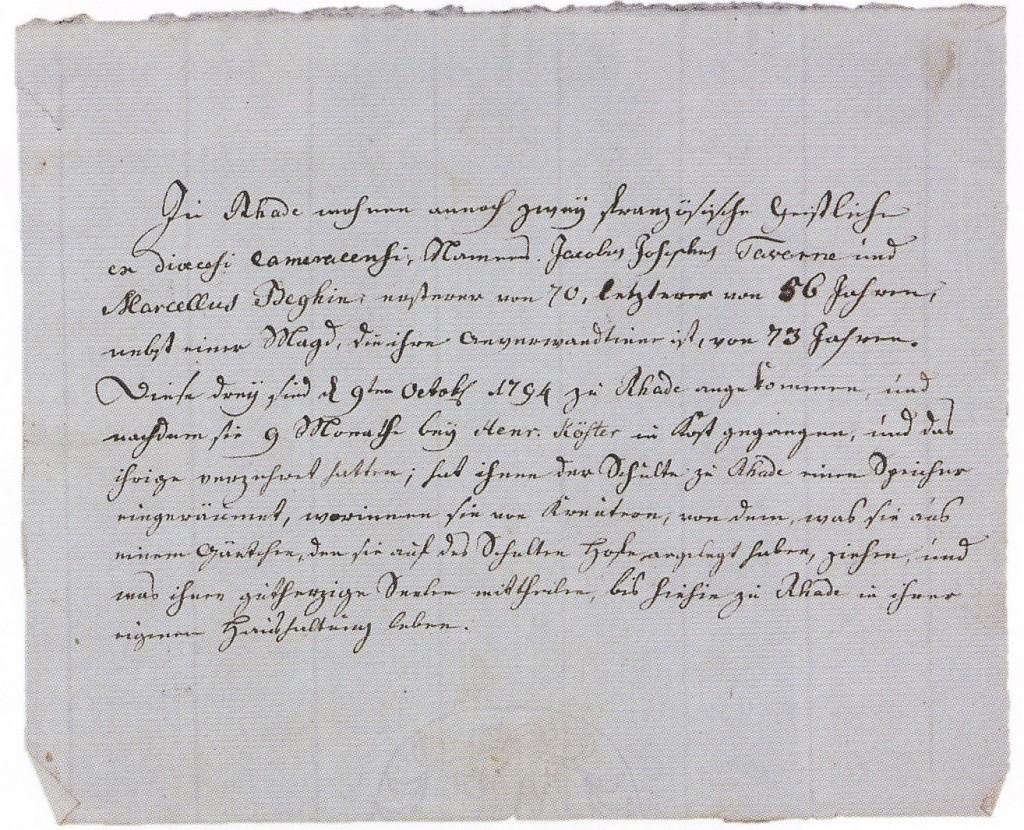 Franz. Emigranaten-Bescheinigung, Lembeck 1795