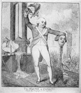 Hinrichtung des Königs, Radierung von Isaak Cruikshank 1793