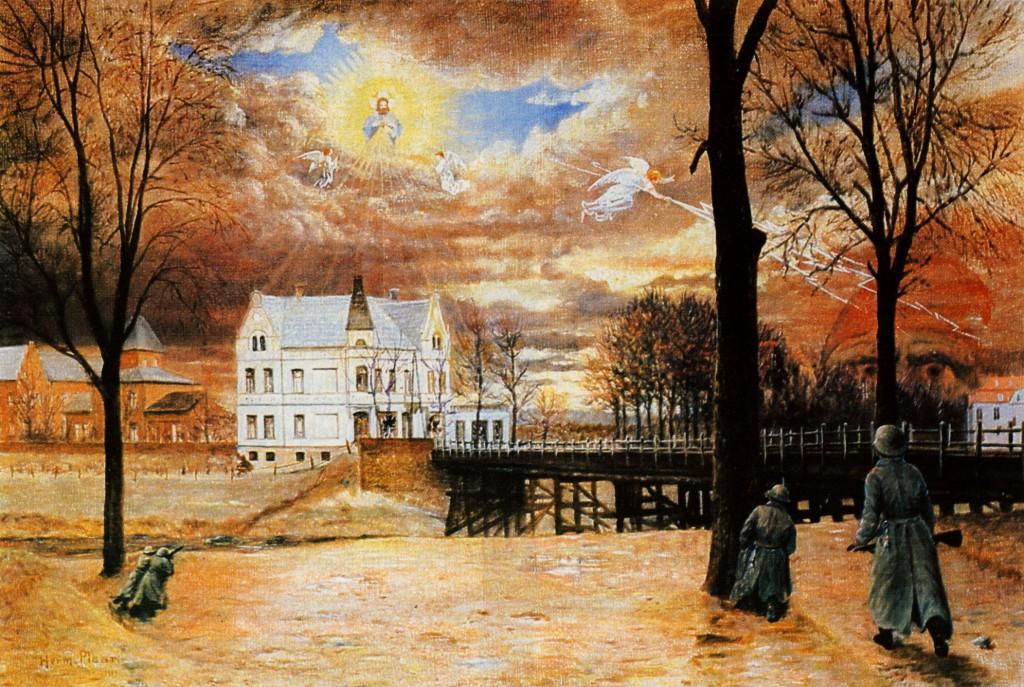 Freikorps Lichschlag im Kampf an der Lippebrücke, Gemälde von........ (Privatbesitz)