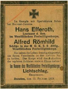 Freikorps-Gefallene, Todesanzeige vom 15. Februar 1919