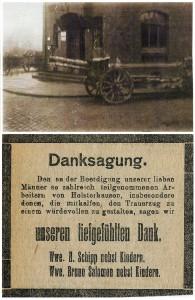 Oben: Kanone an der Post, unten: Todesanzeige von zwei Bergarbeitern, die vom Freikorps ermordet wurden