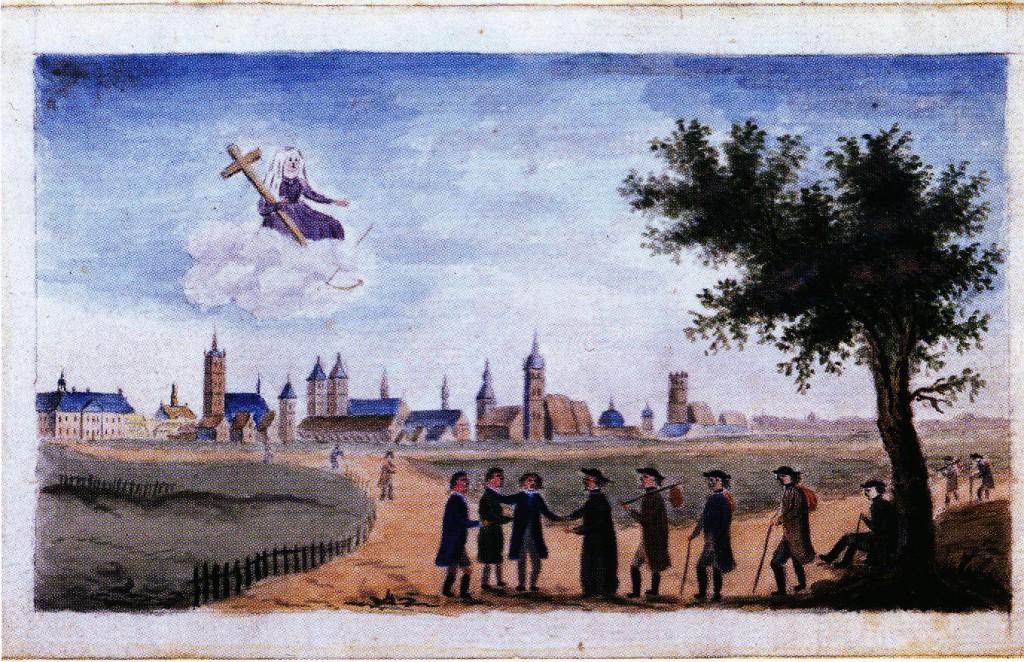 Französische Emigranten 1795 vor Münster, Aquarell von 1800 (LA NRW)