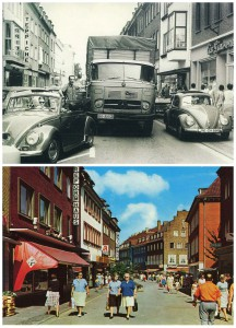 Oben: Kein Durchkommen auf der Lippestraße; unten: Essener Straße Richtung Lippestraße kurz nach Sperrung des Autoverkehrs