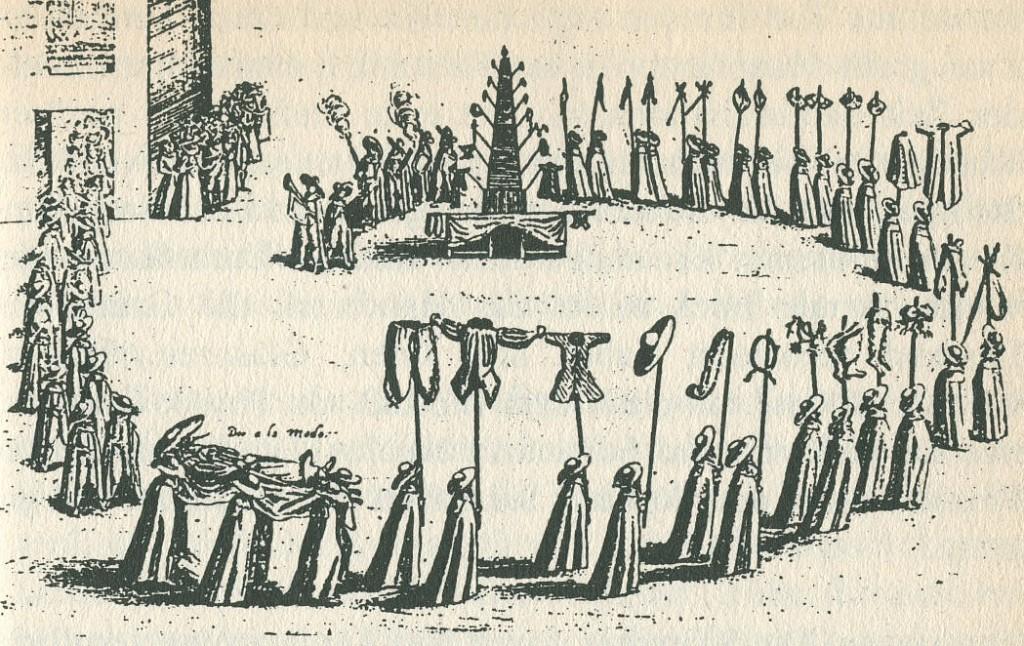 Handwerkerbegräbnis, Kupferstich um 1600