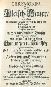 Vorschrift handwerklicher Zeremonien 1715