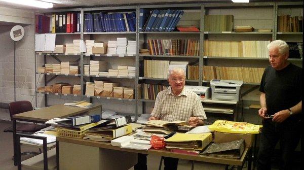 Archiv mit Willi Schrudde und Walter Biermann