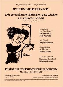 Willem-Hildebrand-Plakat mit Zeichnung von Antonio Filippin 1982