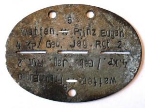 """Erkennungsmarke der Waffen-SS-Einheit """"Prinz Eugen"""""""