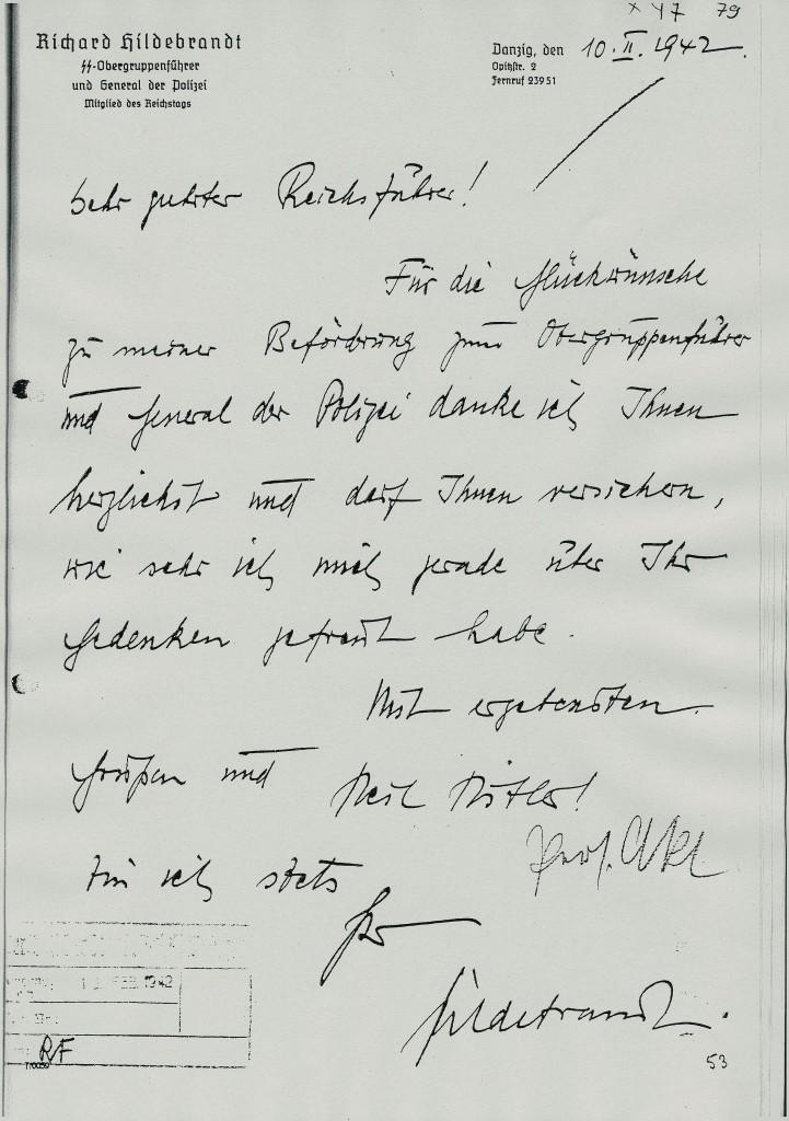 Brief Hildebrandts an Heinrich Himmler 1942