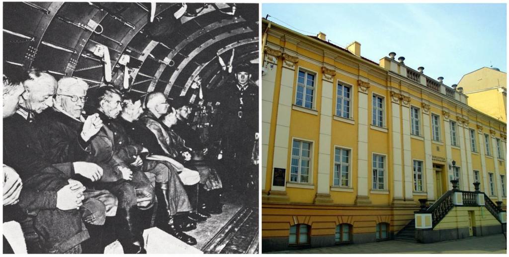 AUslieferung deutscher Kriegsverbrecher an Polen; rechts: Das damalige Gericht in Bydgosz (heute Bücherei)