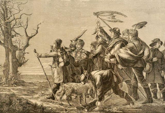 Hollandgänger aus Westfalen auf dem Weg in die Provinzen Holland und Westfriesland um 1850