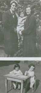 Familie Perlstein; oben: Hertha Perlstein (r.) mit Dienstmädchen und Ursula; unten: Ursula und Liesel Perlstein
