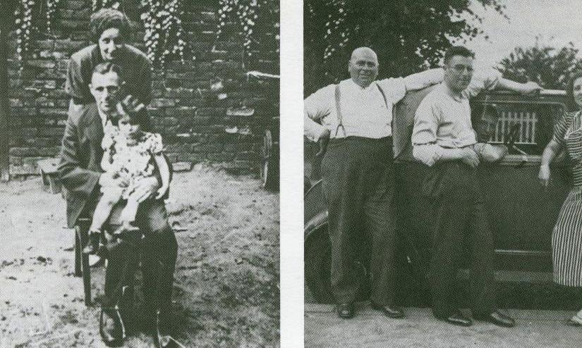 Links: Mathilde Metzger mit Ehemann Max und Tochter JUdis; rechts: Julius, Max und Albert (im Auto), angeschnitten dessen Frau