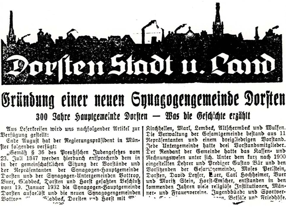 Dorstener Volkszeitung 1932 (Ausriss)