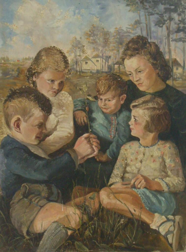 Die Familie des Künstlers, Öl 1946