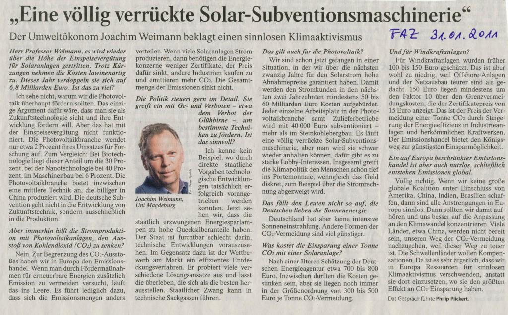 Kommentar zum Klimabündnis in der FAZ vom 31. Januar 2011