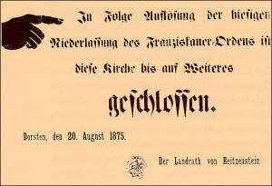 Schild am Dorstener Franziskanerkloster 1875