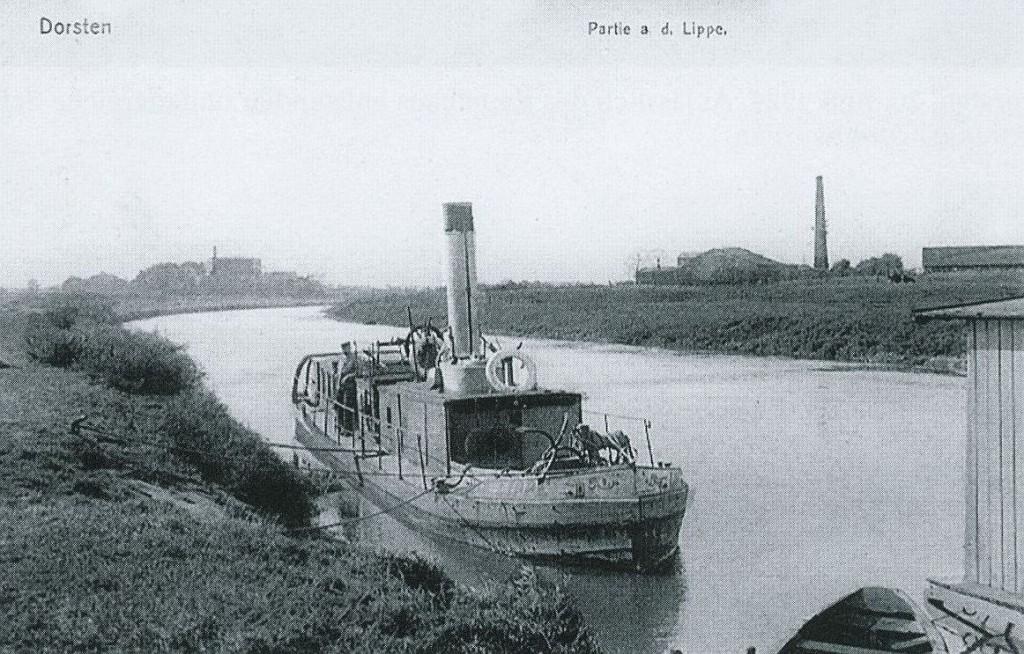 Dampfschiff auf der Lippe 1909