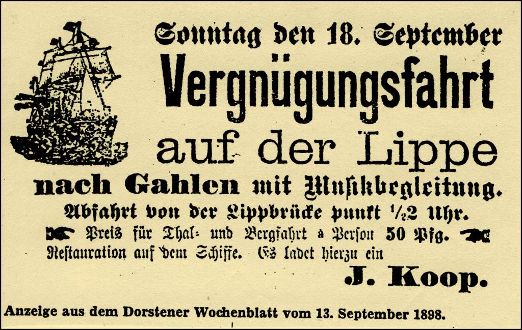 Inserat, das 1898 Vergnügen verspricht