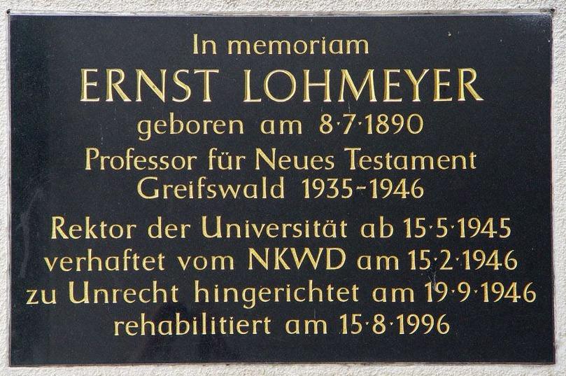 Gedenktafel Ernst Lohmeyer in Greifswald