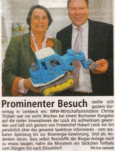 Hubert Loick mit NRW-Wirtschaftsministerin Christa Thoben
