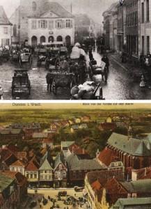 Oben: Marktgeschehen um 1900, darunter: Blick vom Kirchturm auf den Markt um 1910