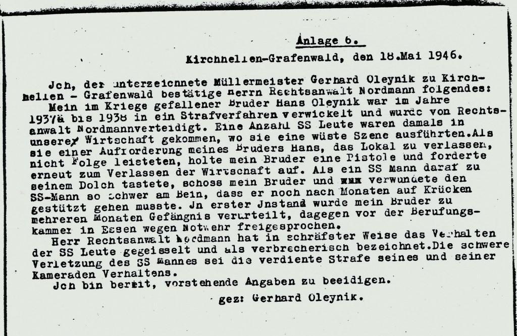 Aussage über Heinrich Nordmann 1946