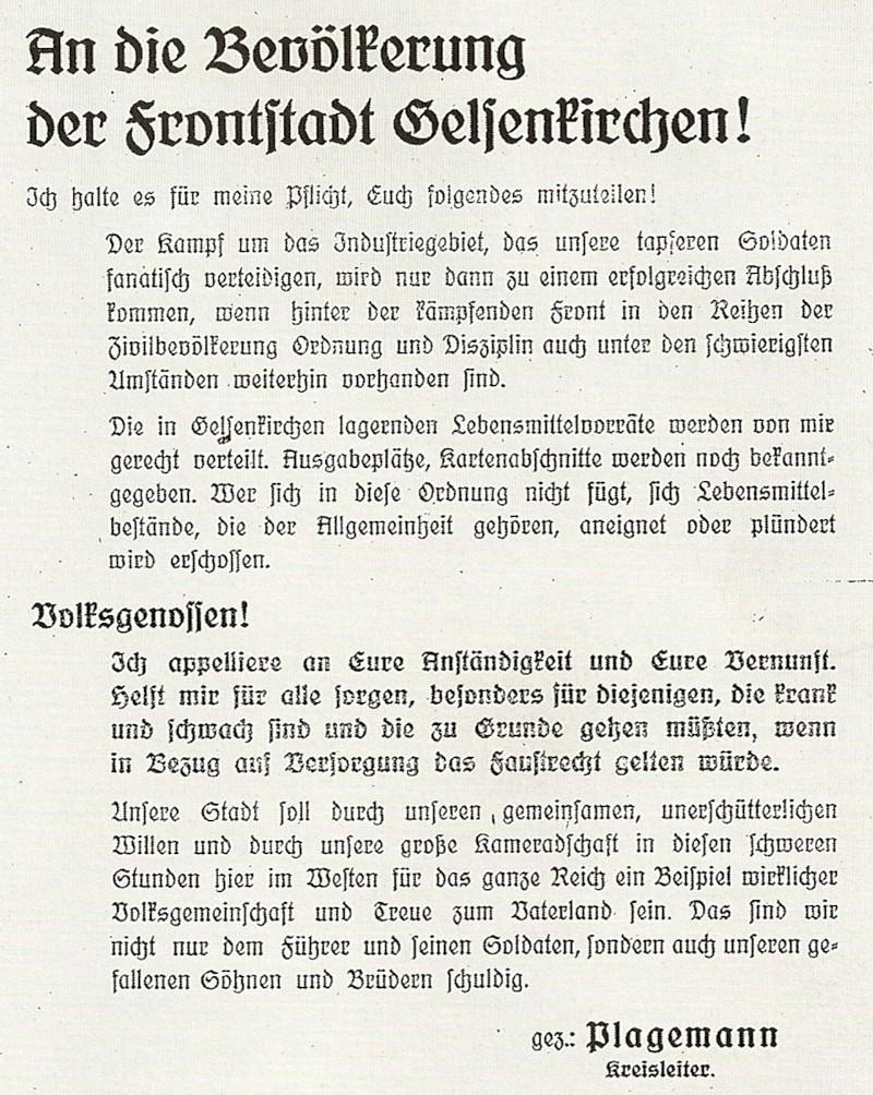 Aufruf Kreisleiter Plagemanns 1945