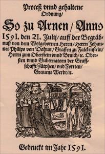 Begräbnisschrift für Graf Oberstein 1591