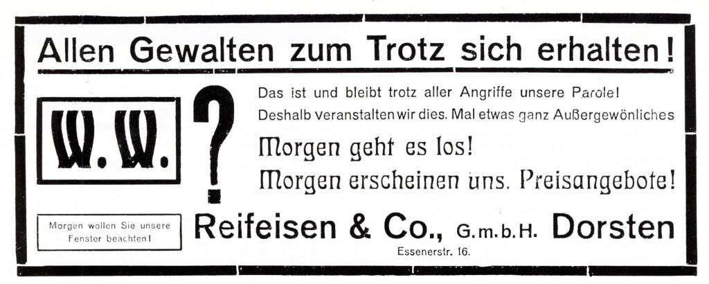 Inserat Reifeisenion der Dorstener Zeitung vom 21. Januar 1924