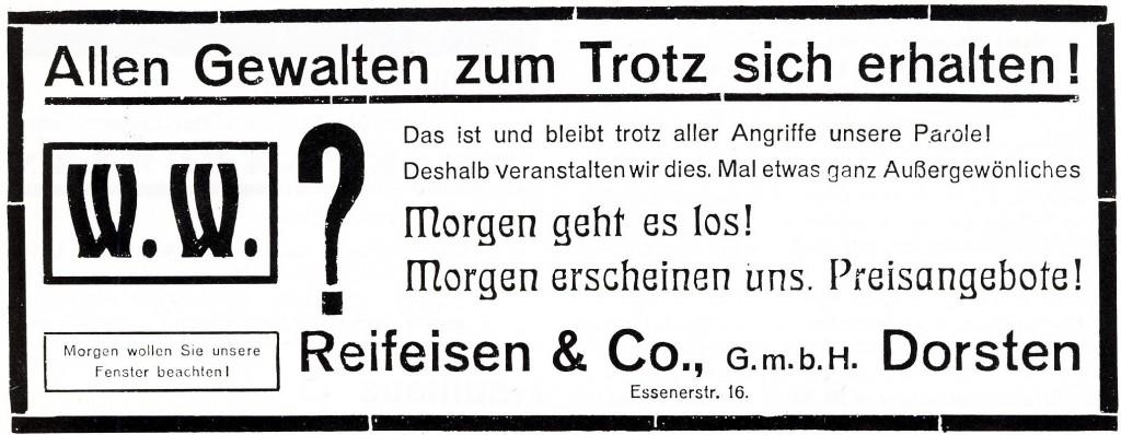 Inserat Reifeisen vom 21. November 1924
