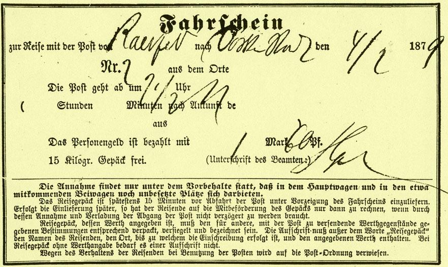 Fahrschein mit der Postkutsche von Raesfeld nach Dorsten
